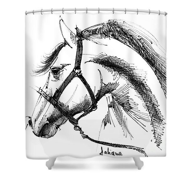 Horse Face Ink Sketch Drawing Shower Curtain