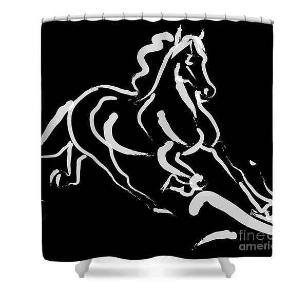 Horse - Fast Runner- Black And White Shower Curtain
