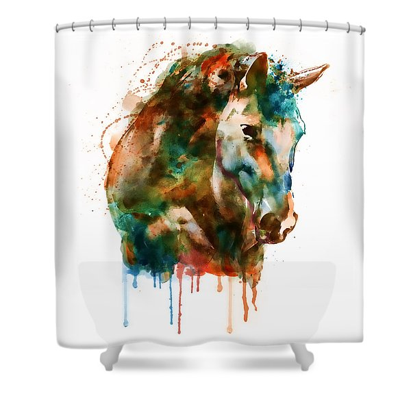 Horse Head Watercolor Shower Curtain