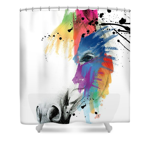 Horse On Abstract   Shower Curtain