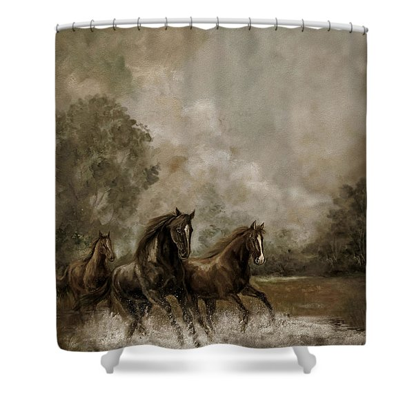 Horse Painting Escaping The Storm Shower Curtain