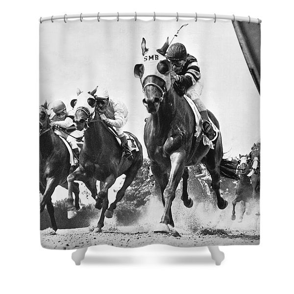Horse Racing At Belmont Park Shower Curtain