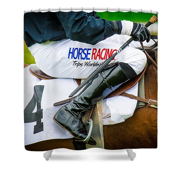 Shower Curtain featuring the photograph Horse Racing by Robert L Jackson