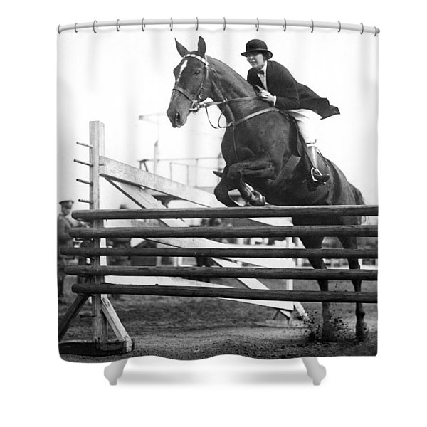 Horse Taking Jump Shower Curtain