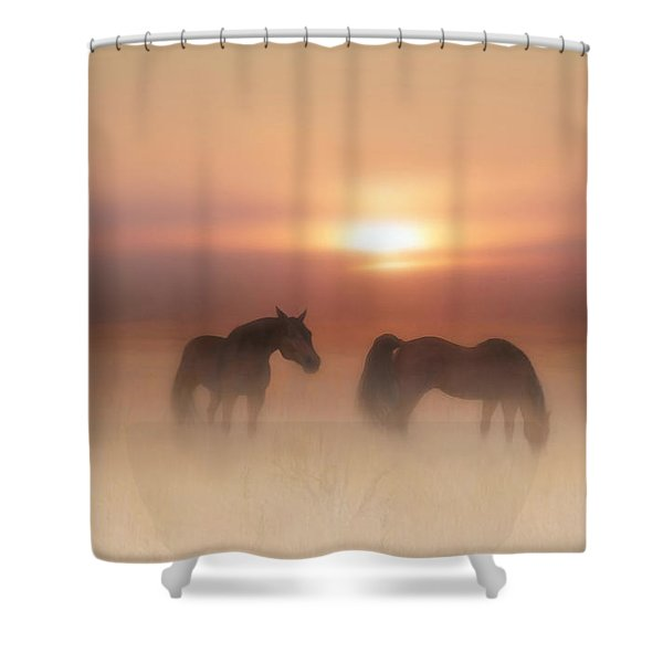 Horses In A Misty Dawn Shower Curtain