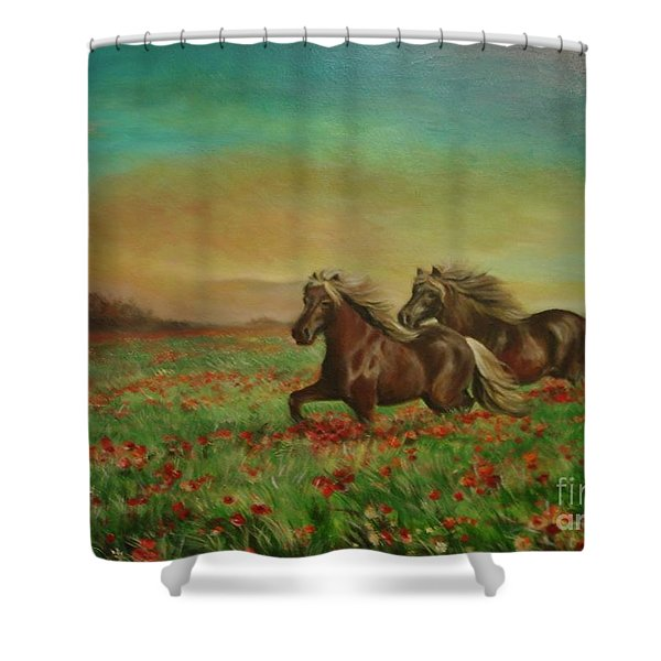 Horses In The Field With Poppies Shower Curtain