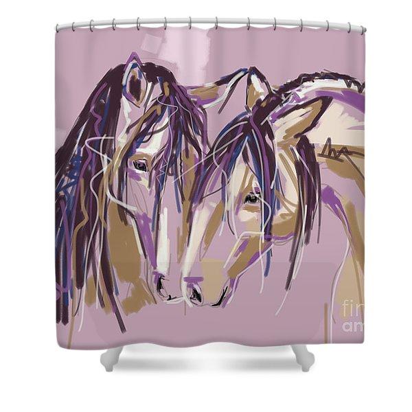 horses Purple pair Shower Curtain