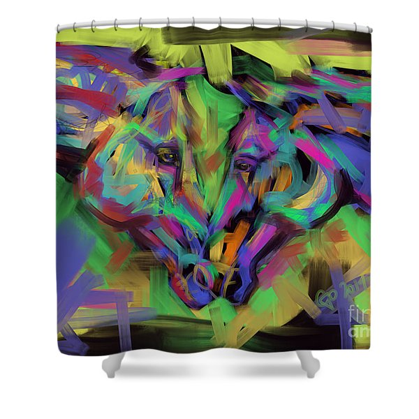 Horses Together In Colour Shower Curtain
