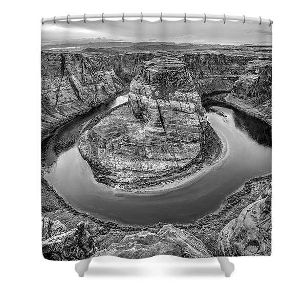Horseshoe Bend Arizona Black And White Shower Curtain