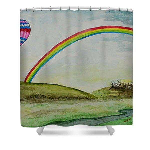 Hot Air Balloon Rainbow Shower Curtain