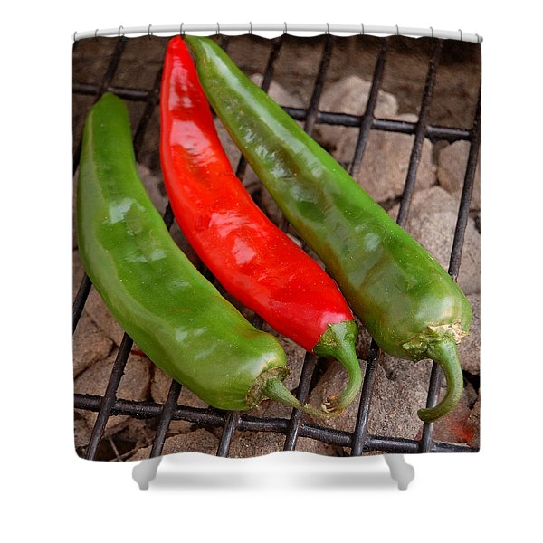 Hot And Spicy - Chiles On The Grill Shower Curtain