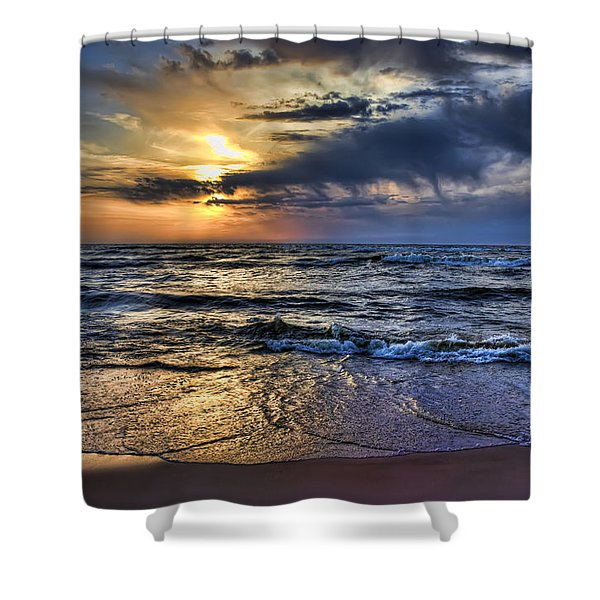Hot April Sunset Saugatuck Michigan Shower Curtain