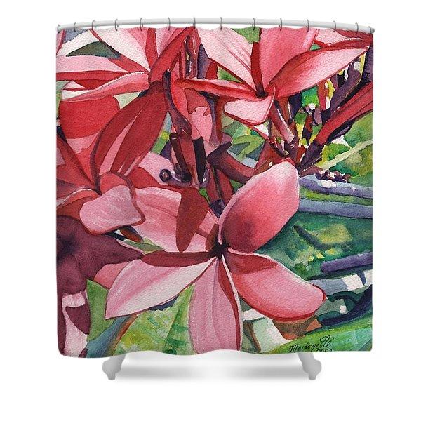 Hot Pink Plumeria Shower Curtain
