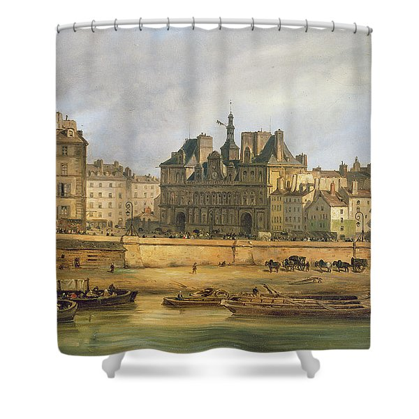 Hotel De Ville And Embankment, Paris, 1828 Oil On Canvas Shower Curtain