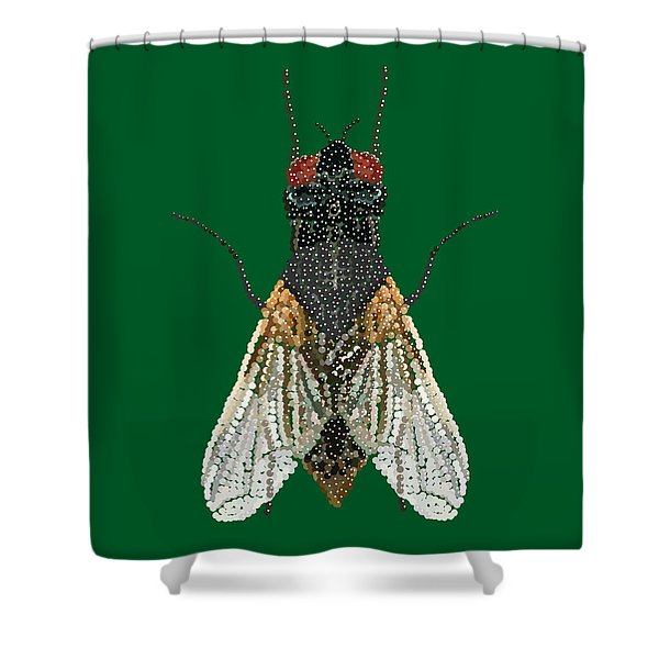 House Fly In Green Shower Curtain