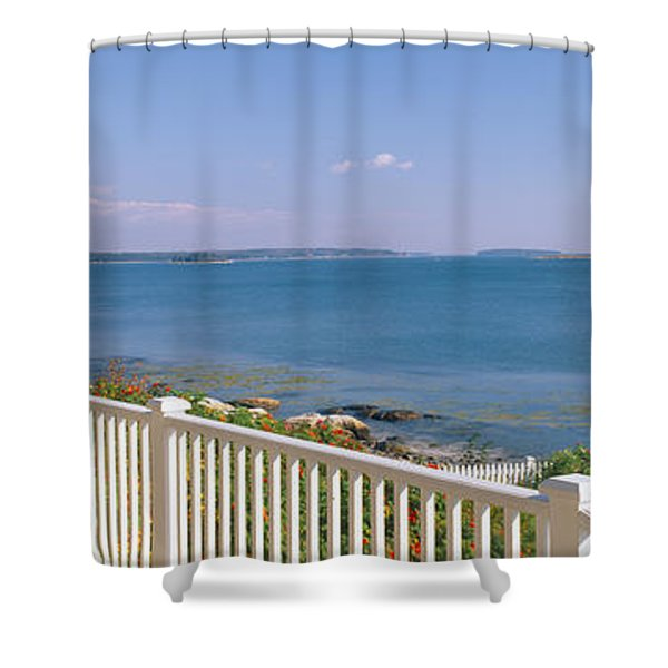House With A View Of Spruce Head Shower Curtain