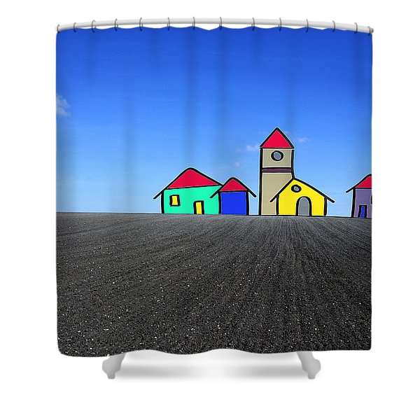 Houses. Field Concept Shower Curtain