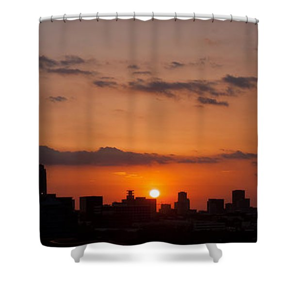 Houston Skyline At Sunset Shower Curtain