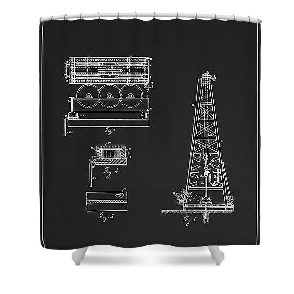 Howard Hughes Oil Derrick Patent  1916 Shower Curtain