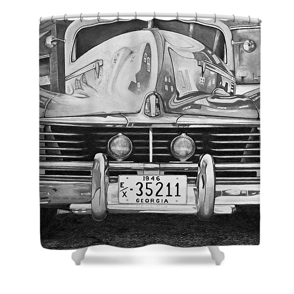 Hudson Dreams In Black And White Shower Curtain