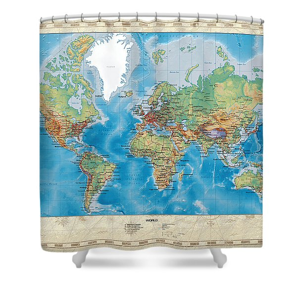 Huge Hi Res Mercator Projection Physical And Political Relief World Map Shower Curtain