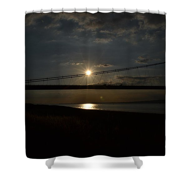 Shower Curtain featuring the photograph Humber Bridge Sunset by Scott Lyons