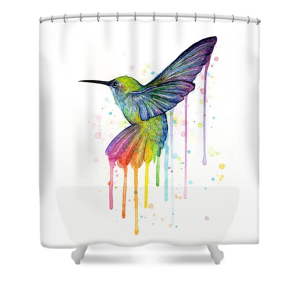 Hummingbird Of Watercolor Rainbow Shower Curtain