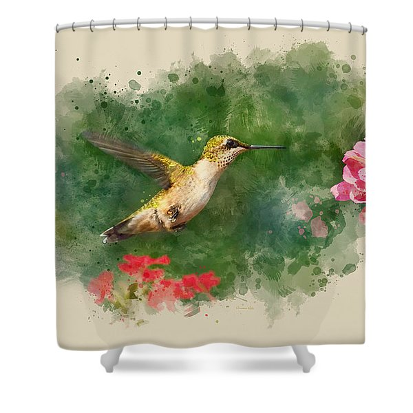 Hummingbird - Watercolor Art Shower Curtain