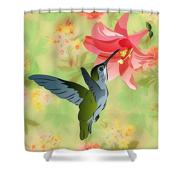 Hummingbird With Pink Lily Against Floral Fabric Shower Curtain