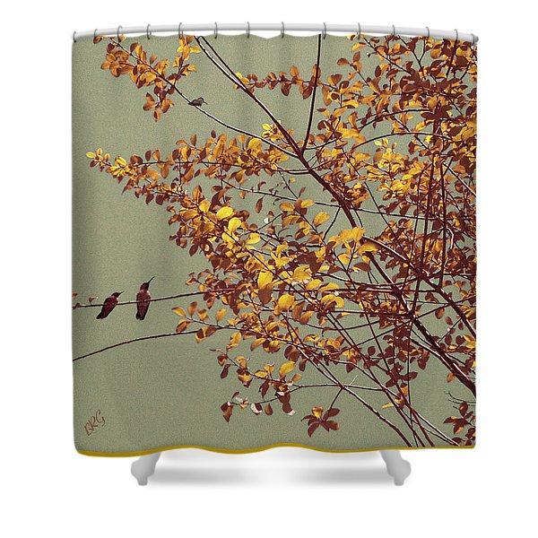 Hummingbirds On Yellow Tree Shower Curtain