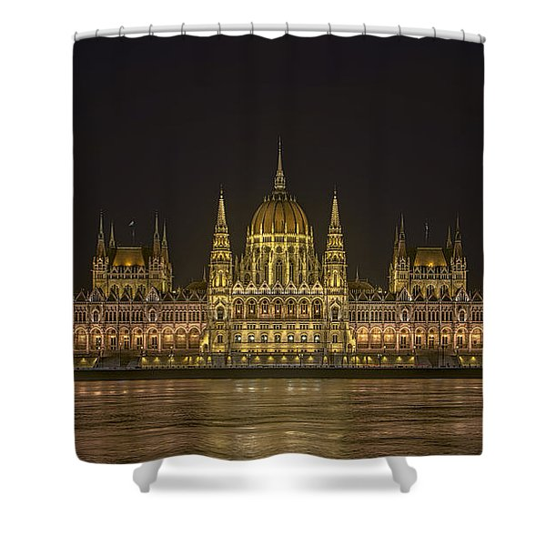 Hungarian Parliament Building Night Shower Curtain