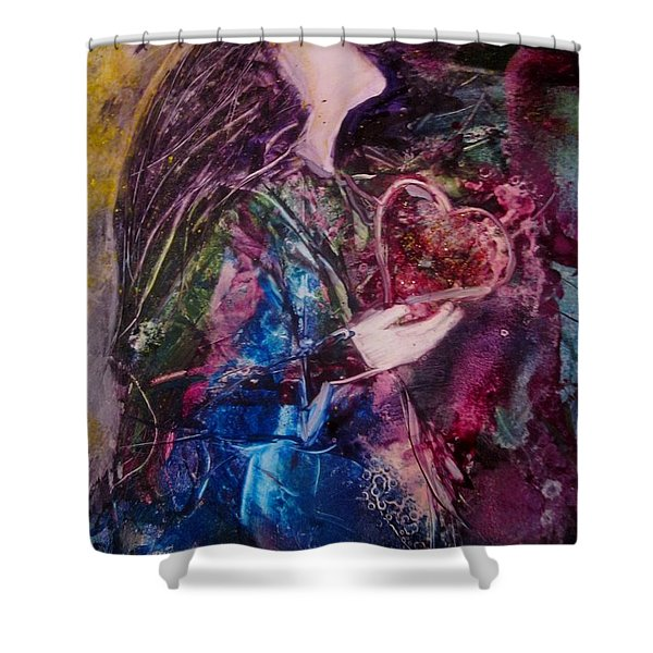 Shower Curtain featuring the painting I Give You My Heart by Deborah Nell