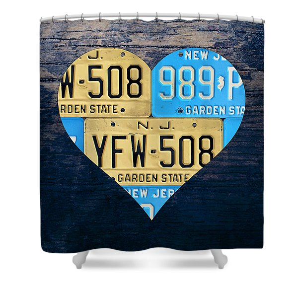 I Heart New Jersey State Love Recycled Vintage License Plate Art Shower Curtain