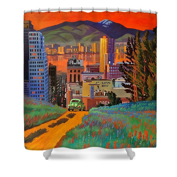 I Love New York City Jazz Shower Curtain