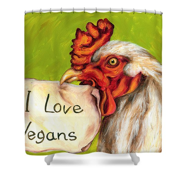 I Love Vegans Shower Curtain