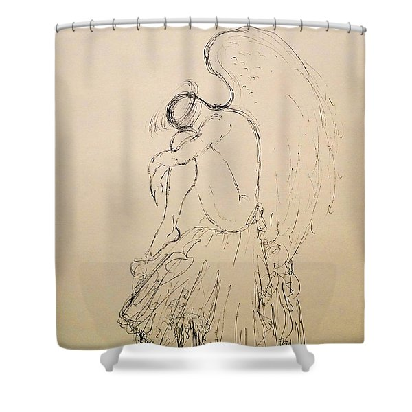 I See You Sitting On The Edge Of Your Broken Heart Shower Curtain