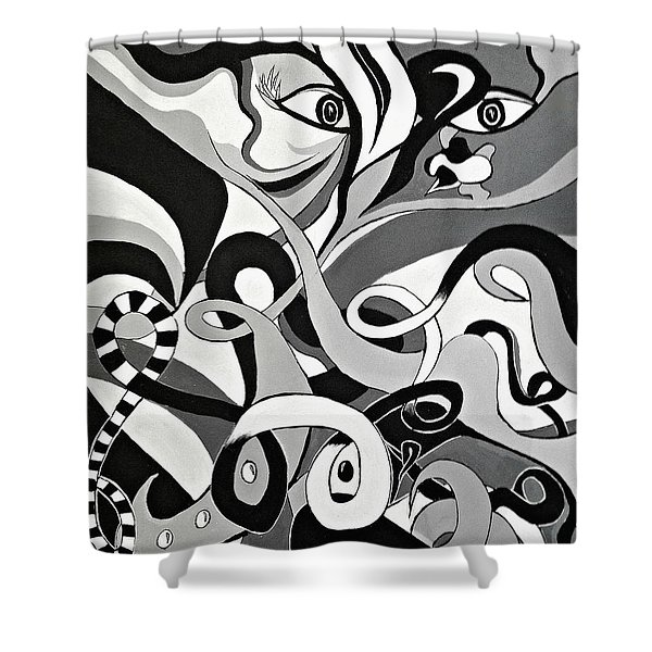 Black And White Acrylic Painting Original Abstract Artwork Eye Art  Shower Curtain