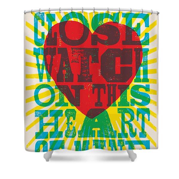 I Walk The Line - Johnny Cash Lyric Poster Shower Curtain