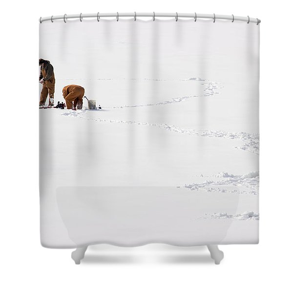 Ice Fishing In Iowa Shower Curtain