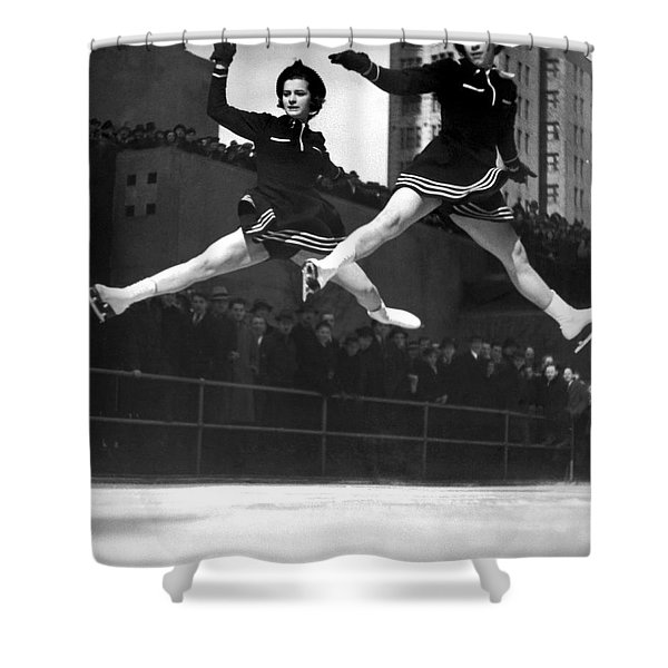 Ice Skaters Perform In Ny Shower Curtain