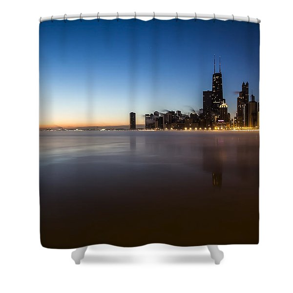 icy crescent moon dawn scene in Chicago Shower Curtain