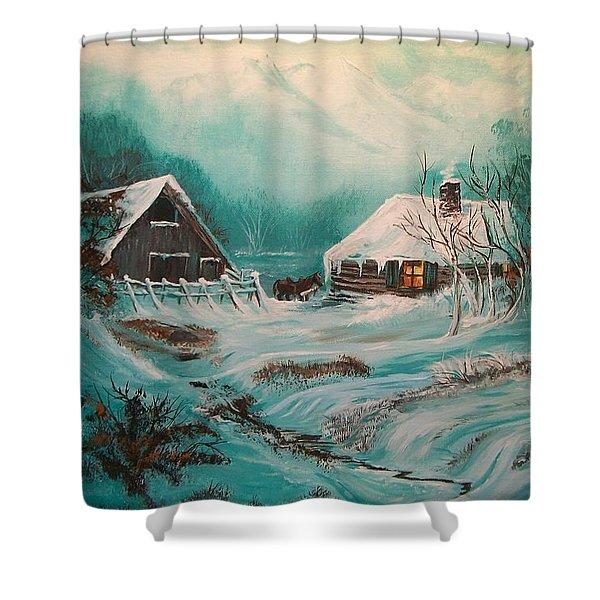 Icy Twilight Shower Curtain