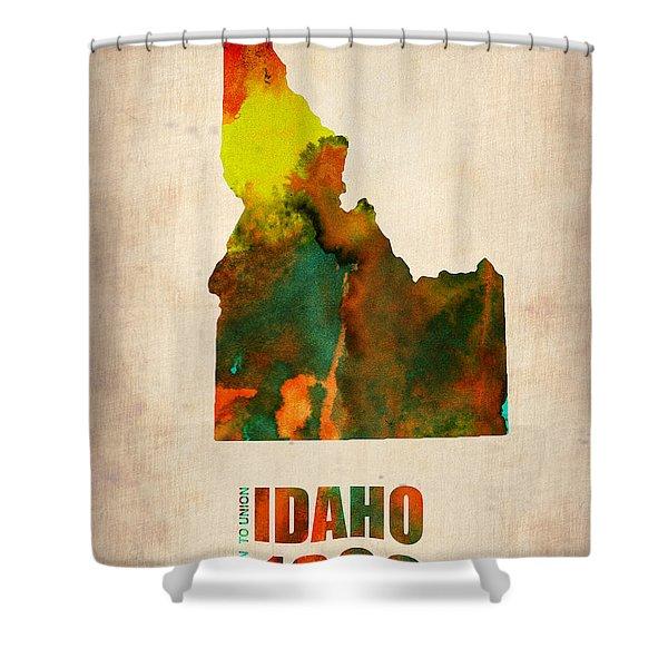 Idaho Watercolor Map Shower Curtain