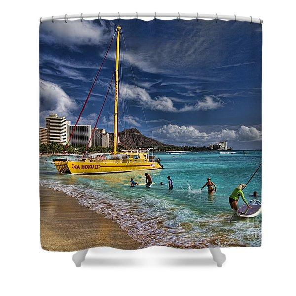 Idyllic Waikiki Beach Shower Curtain