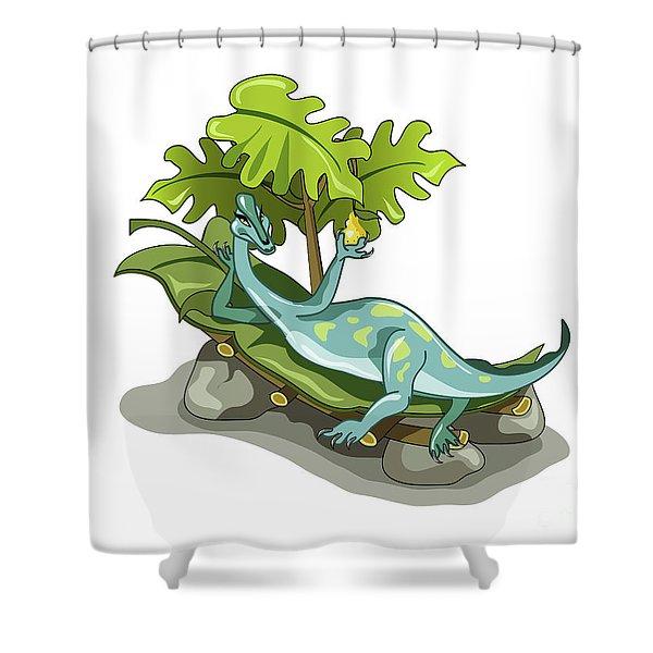 Illustration Of An Iguanodon Sunbathing Shower Curtain
