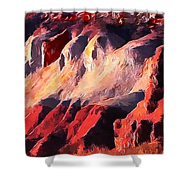 Impression Of Capitol Reef Utah At Sunset Shower Curtain