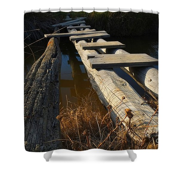 Improvised Wooden Bridge Shower Curtain