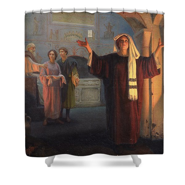 In A Catacomb, 1900 Oil On Canvas Shower Curtain