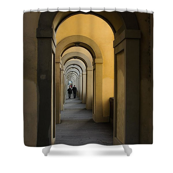 In A Distance - Vasari Corridor In Florence Italy  Shower Curtain
