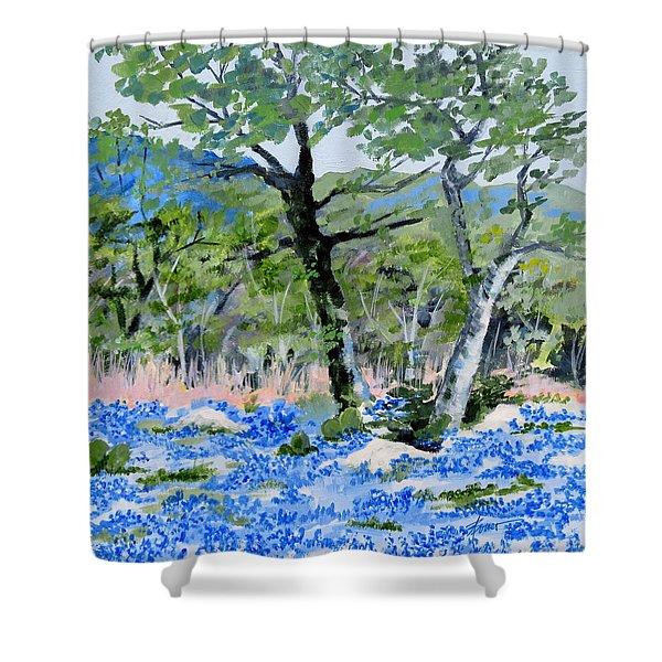 In April-texas Bluebonnets Shower Curtain